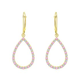 14K Yellow Gold Earring with Pink Tourmaline and Diamond