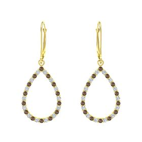 14K Yellow Gold Earring with Smoky Quartz and Diamond