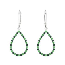 Sterling Silver Earring with Emerald and Alexandrite