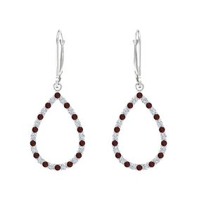 Sterling Silver Earring with Red Garnet and Diamond