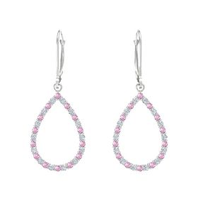 Sterling Silver Earrings with Pink Sapphire & Diamond