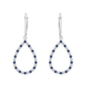 Sterling Silver Earrings with Sapphire & Diamond