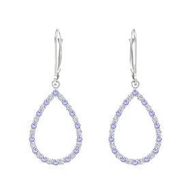 Sterling Silver Earring with Iolite and Diamond