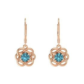 Round London Blue Topaz 14K Rose Gold Earrings