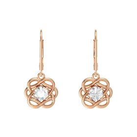 Round Rock Crystal 14K Rose Gold Earrings