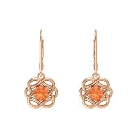 Round Fire Opal 14K Rose Gold Earrings