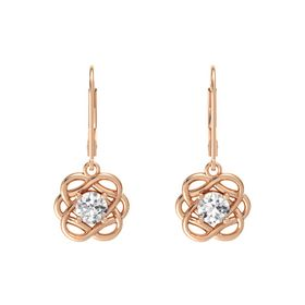 Round White Sapphire 14K Rose Gold Earrings