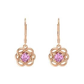 Round Pink Sapphire 14K Rose Gold Earrings