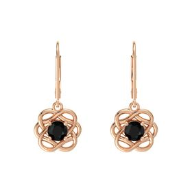 Round Black Onyx 14K Rose Gold Earrings