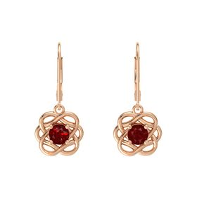 Round Ruby 14K Rose Gold Earrings