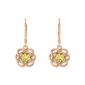 Round Yellow Sapphire 14K Rose Gold Earring