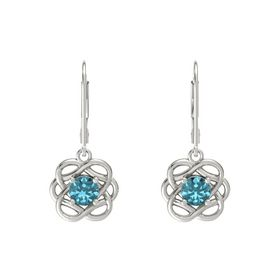 Round London Blue Topaz 14K White Gold Earrings
