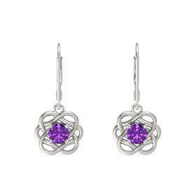 Round Amethyst 14K White Gold Earrings
