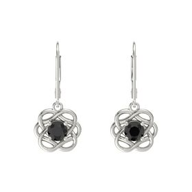 Round Black Diamond 14K White Gold Earrings
