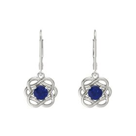 Round Sapphire 14K White Gold Earrings