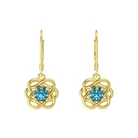 Round London Blue Topaz 14K Yellow Gold Earrings