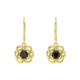 Round Black Diamond 14K Yellow Gold Earrings