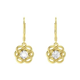 Round Rock Crystal 14K Yellow Gold Earrings