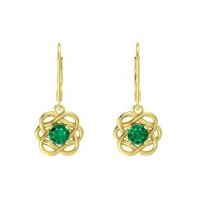Round Emerald 14K Yellow Gold Earrings