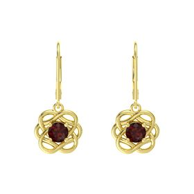 Round Red Garnet 14K Yellow Gold Earrings