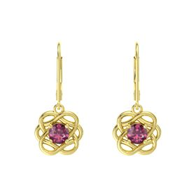 Round Rhodolite Garnet 14K Yellow Gold Earrings