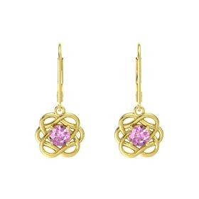 Round Pink Sapphire 14K Yellow Gold Earrings