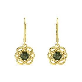 Round Green Tourmaline 14K Yellow Gold Earrings