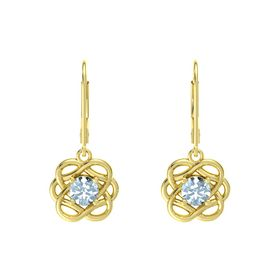 Round Aquamarine 14K Yellow Gold Earrings