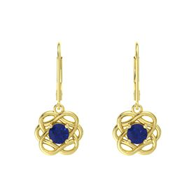 Round Sapphire 14K Yellow Gold Earrings
