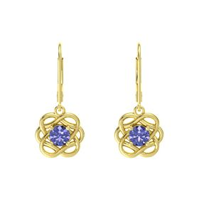 Round Tanzanite 14K Yellow Gold Earrings