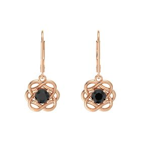 Round Black Diamond 18K Rose Gold Earrings