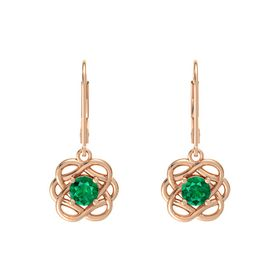 Round Emerald 18K Rose Gold Earrings