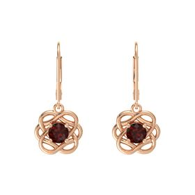 Round Red Garnet 18K Rose Gold Earrings