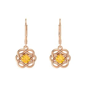 Round Citrine 18K Rose Gold Earring