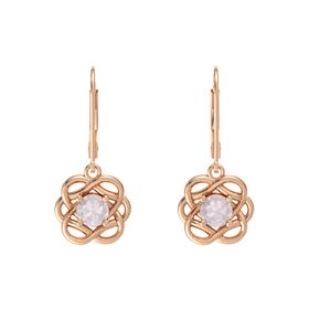 Round Rose Quartz 18K Rose Gold Earrings