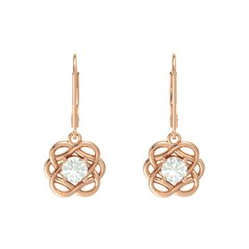 Round Green Amethyst 18K Rose Gold Earrings