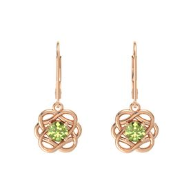 Round Peridot 18K Rose Gold Earrings