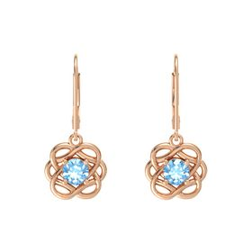 Round Blue Topaz 18K Rose Gold Earring