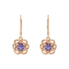 Round Iolite 18K Rose Gold Earrings