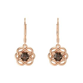 Round Smoky Quartz 18K Rose Gold Earrings