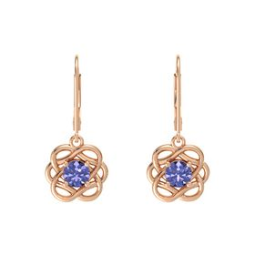 Round Tanzanite 18K Rose Gold Earrings