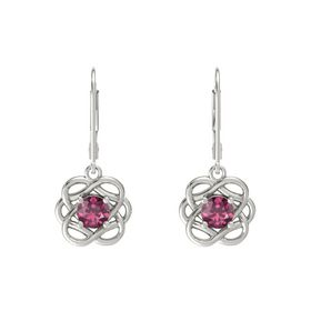 Round Rhodolite Garnet 18K White Gold Earrings