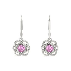 Round Pink Sapphire 18K White Gold Earring
