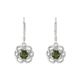 Round Green Tourmaline 18K White Gold Earring