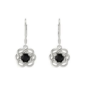 Round Black Onyx 18K White Gold Earring