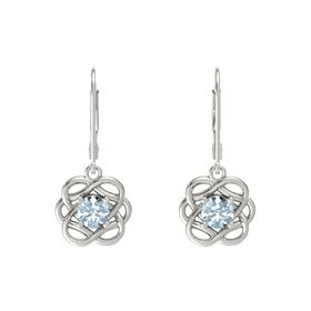 Round Aquamarine 18K White Gold Earrings
