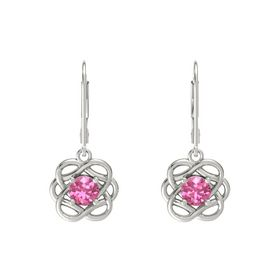 Round Pink Tourmaline 18K White Gold Earring