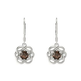 Round Smoky Quartz 18K White Gold Earrings
