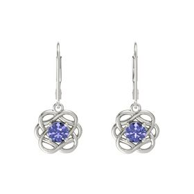 Round Tanzanite 18K White Gold Earrings