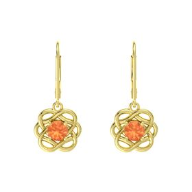 Round Fire Opal 18K Yellow Gold Earrings
